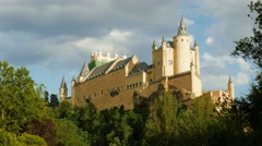 The spanish castle Alcazar of Segovia, in Castilla y Leon, Spain Stock Footage
