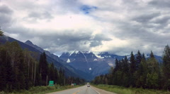 Mountain with snow view from road trip around national park Stock Footage