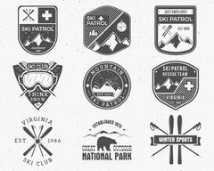 Outdoors camp stamp vector design. Tourism hipster patch and badges. Expedition Stock Illustration