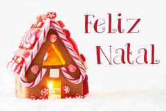 Gingerbread House, White Background, Feliz Natal Means Merry Christmas Stock Photos