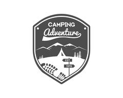 Camping Adventures Label. Vintage Mountain winter or summer camp explorer badge Stock Illustration