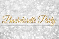 Bachelorette party word on white silver glitter bokeh abstract background Stock Illustration