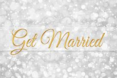 get married word on white silver glitter bokeh abstract background - stock illustration