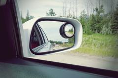 Side rear view mirror on a car retro style Stock Photos