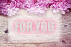 Pink flowers on wooden with word For you Stock Photos