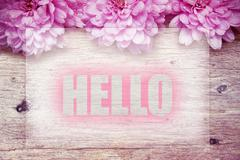 Pink flowers on wooden with word Hello Stock Photos