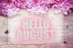 Pink flowers on wooden with word Hello August Stock Photos