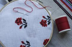 Traditional folk embroidery cross on a wooden hoop Stock Photos