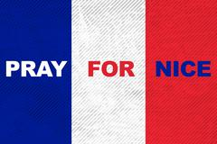 France national flag with word Pray for Nice Stock Illustration