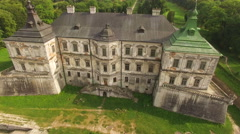 Aerial view of Pidhirtsi Castle. 4k Stock Footage
