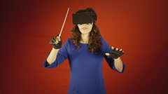 Virtual reality woman orchestra leader master Stock Footage