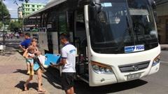 Pegas touristik travel company bus Stock Footage
