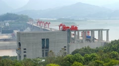 Three gorges dam top side, Yichang, China Stock Footage