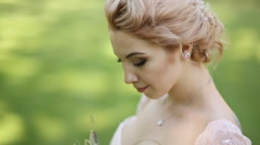 Close up portrait of magical beautiful young bride wearing elegant white dress Stock Footage