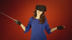 Virtual reality woman orchestra leader thankful Stock Footage