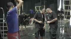 The set-up with mirrors in the Studio before shooting Stock Footage