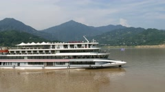 Cruise boat on Three gorges dam Stock Footage