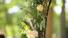 Wedding. Ceremony. Wedding arch. Wedding arch made of branches, flowers and Stock Footage