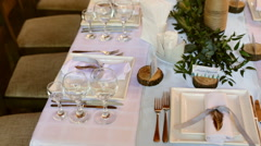 Table setting for a wedding reception or an event - stock footage