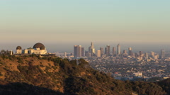 Downtown Los Angeles and Griffith Observatory Day To Night Timelapse Stock Footage