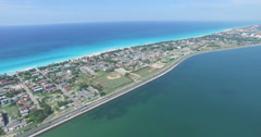 Drone is flying over tropical island in the Atlantic Ocean. Bird's-eye view Stock Footage