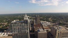 Aerial footage above Fayetteville street in downtown Raleigh. Stock Footage