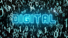 Bluish Digital concept with digital code Stock Footage