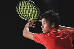 Young Japanese tennis player in action Stock Photos