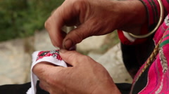 Details of Yao ethnic minority women embroidering Stock Footage