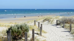 Path leading down to beach Stock Footage