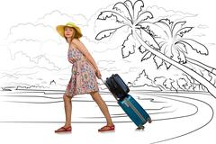 Young woman travelling tropical island in travel concept Kuvituskuvat