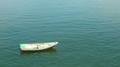 Little boat parked on sea. Stock Footage