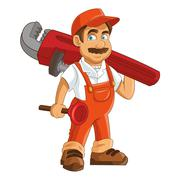 Construction or industrial worker holding pipe wrench and plunger icon Stock Illustration