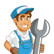 Construction or industrial worker holding wrench icon Stock Illustration