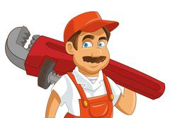 Construction or industrial worker holding pipe wrench icon Stock Illustration