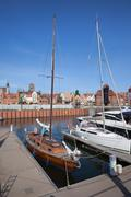 Marina and Old Town Skyline in Gdansk Stock Photos