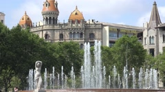 Water Fountain And Spanish Architecture Of Barcelona Stock Footage
