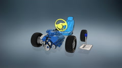 Automobile Technology. Engine, seat. tire, gear box, illustration style. Stock Footage