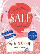 adorable final sale poster design - stock illustration