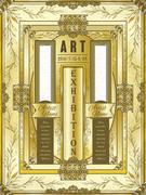 art exhibition poster design - stock illustration