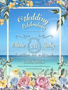 Wedding celebration poster Stock Illustration