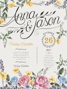 wedding celebration poster - stock illustration