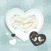 Happy wedding calligraphy poster design - stock illustration