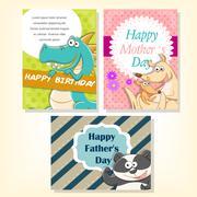 Funny animals holiday celebration cards set Stock Illustration