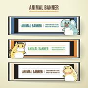 adorable cartoon animal banner collection set - stock illustration
