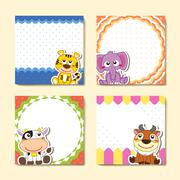 Adorable animal memo pads set Stock Illustration