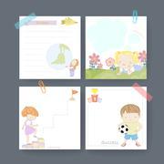 adorable memo paper template design - stock illustration