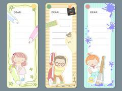 adorable cartoon style memo pad template - stock illustration