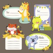 Lovable diverse animals memo paper Stock Illustration