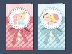 Adorable baby shower card template design Stock Illustration